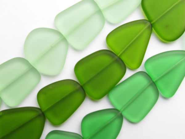 Sea Glass BEADS Assorted 22-24mm 3 Strands Greens 5 pc ea Making beach glass jewelry supply