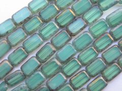 10 12 x 8 mm Polished Rectangles Teal Tortoise Picasso