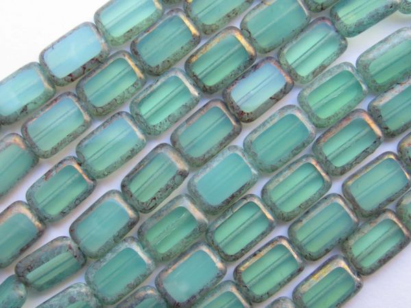 CZECH Glass BEADS Window beads Table Cut Rectangle Milky Turquoise 12x8mm 24 pc strand
