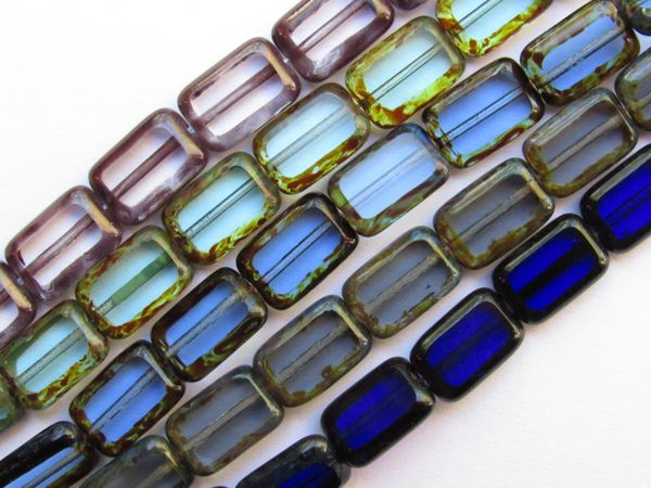 Czech Glass BEADS Table cut Window 12x8mm Rectangle 5 assorted Strands 24 pc ea graded Blues tablecuts