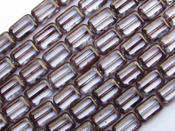 CZECH Glass BEADS Table Cut 12x8mm Rectangle Crystal Cocoa Picasso 24 pc Strand