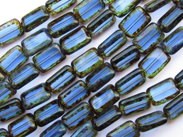 CZECH Glass BEADS Table Cut 12x8mm Rectangle transparent Sapphire Picasso 24 pc Strand