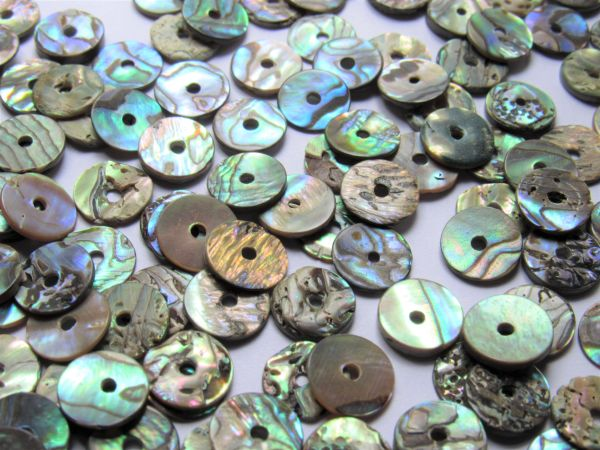Natural Abalone BEADS Flat 10mm Shell Center Drilled Flat 1mm thick more uniform making jewelry bead supply