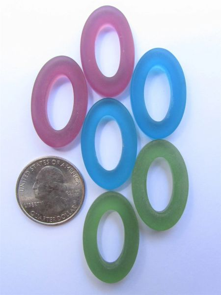 Ring PENDANTS 31x20mm Oval Assorted Bold Colors Large Hole Donut Making Sea Glass Jewelry