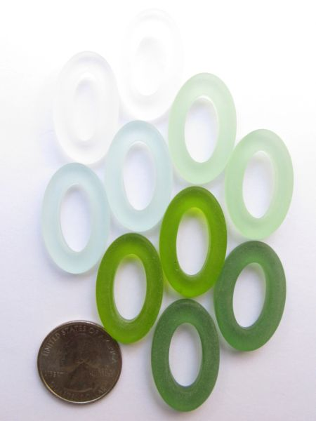 Sea Glass Ring PENDANTS 31x20mm Oval Green Large Hole Donut Making Jewelry
