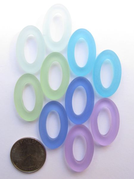 Sea Glass PENDANTS Oval RING Assorted Colors 31x20mm Large Hole Donut Making Jewelry