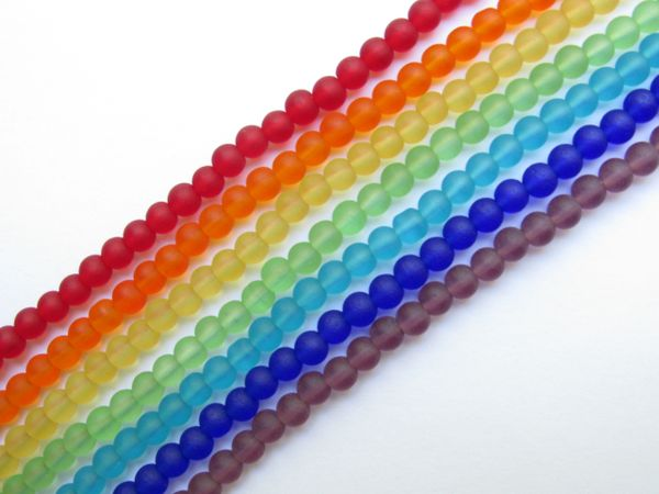 Jewelry making Supplies - Cultured Sea Glass BEADS 4mm Round ROYGBIV 7 strands Rainbow assorted color lot