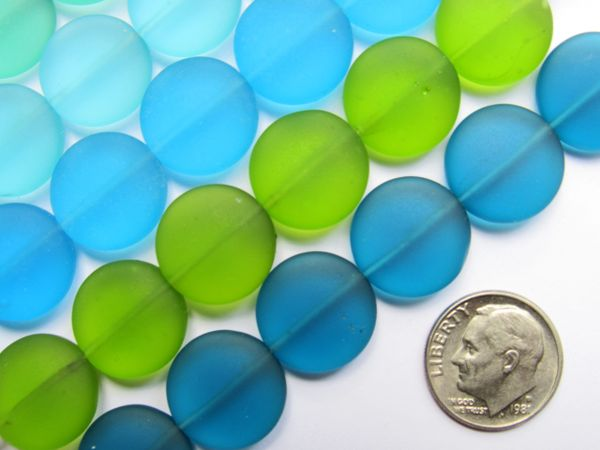 Sea Glass BEADS 15mm Coin Assorted Seafoam Green Light Aqua Blue 6 pc Strands making sea glass jewelry