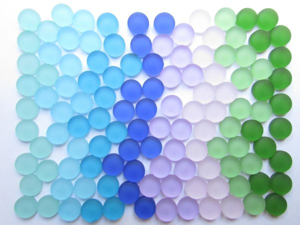 Frosted GLASS Cabs 12mm Round assorted colors making jewelry sea glass supply