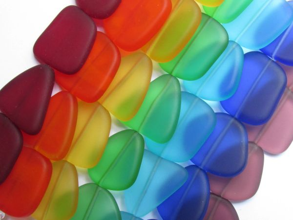 Cultured Sea Glass BEADS 22-24mm roygbiv 5 pc ea Flat Free form making beach glass jewelry supply