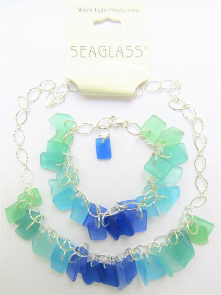 Seaglass BEACHY Jewelry Necklace Bracelet SET Seafoam green graded blue Seaside colors
