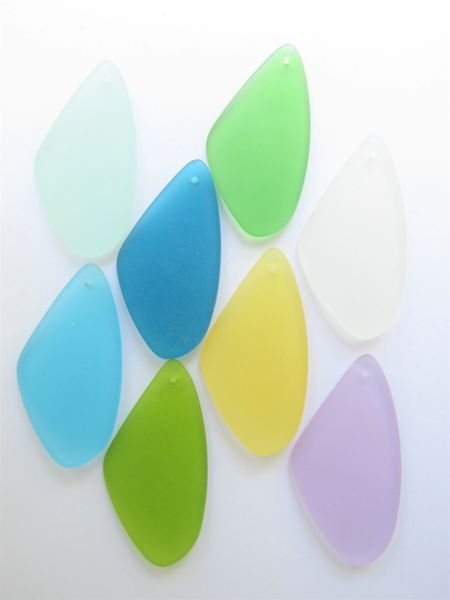 Sea Glass necklace PENDANTS 9 pc 53x22mm assorted colors top drilled making jewelry