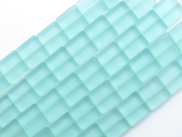 Bead Supplies Cultured Sea Glass BEADS 12mm Square Light Aqua Flat length drilled bead