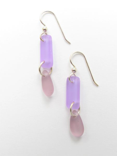 "Seaglass EARRINGS 1 3/4"" Dangle Earwires Sterling Silver purple pink frosted glass jewelry"