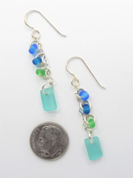 """Seaglass EARRINGS 1 7/8"""" Dangle Earwires Sterling Silver Blue Green frosted glass jewelry"""