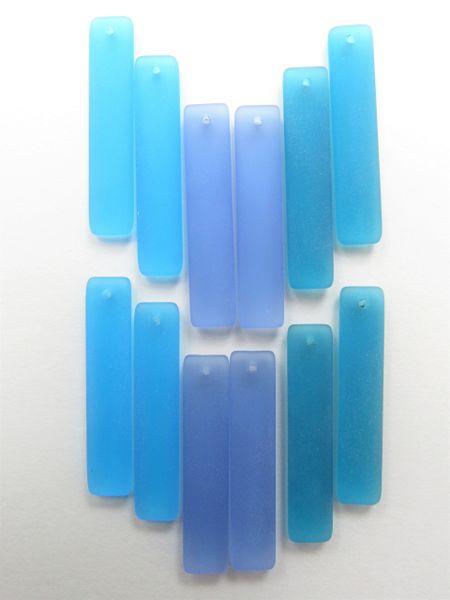 Sea Glass PENDANTS 38x8mm Elongated Rectangle 6 pair blues making seaglass Jewelry