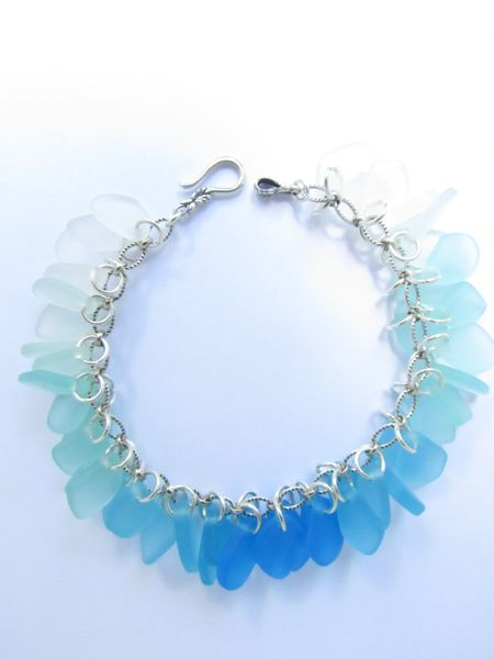 "Seaglass BRACELET 8 5/8"" Aqua Blue Colors Handmade Sterling Silver Chain Hook & Eye closure sea glass jewelry"