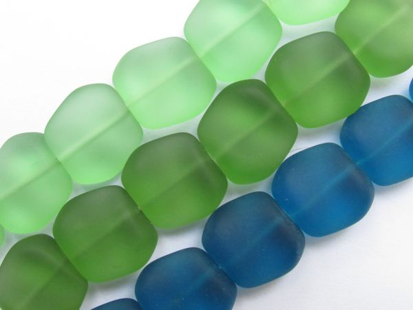 Cultured Sea Glass BEADS 18x17mm Square Nugget Assorted 3 strands supplies for making jewelry