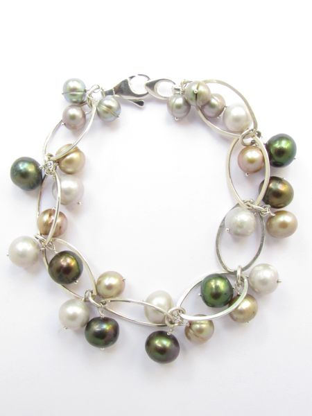 """Beachy Pearl BRACELET 8"""" Handmade Sterling Silver Chain Lobster Clasp closure beach jewelry"""