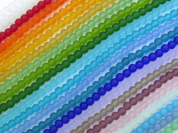 Cultured SEA GLASS BEADS 4mm Round Assorted 26 Strands matte frosted finish bead supply for making jewelry