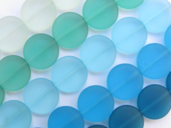 Sea Glass Beads 15mm coin Assorted blue green colors 6 pc Strands frosted glass beads for making jewelry