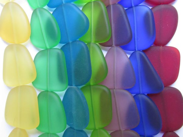 Bead Supply Cultured Sea Glass BEADS 22 - 24mm assorted 7 strands frosted glass beads for making jewelry