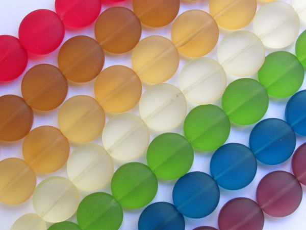 assorted colors Sea Glass BEADS 12mm Coin 7 strands recycled frosted glass beads for making jewelry