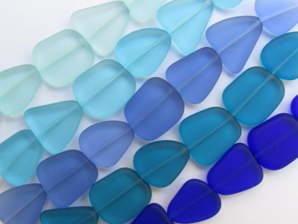 Sea Glass BEADS 13 -15mm assorted colors Blues 5 Strands Flat Free form frosted glass beads for making jewelry
