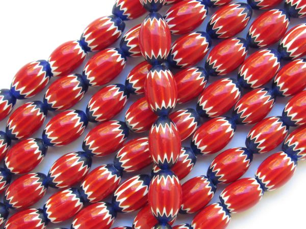 Glass CHEVRON BEADS 15x10mm Red White and Blue handmade layered glass bead rendezvous trade beads for making jewelry