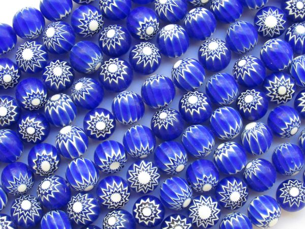 Glass CHEVRON BEADS 10mm Blue and White handmade layered glass bead rendezvous trade beads for making jewelry