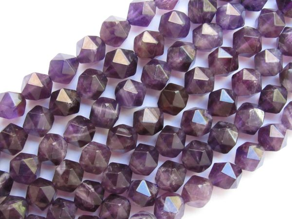 Natural AMETHYST BEADS Faceted Cube 8mm Purple Gemstone beads for making jewelry