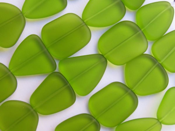 Bead Supply Cultured Sea Glass BEADS 22-24mm Freeform Olive green frosted for making jewelry