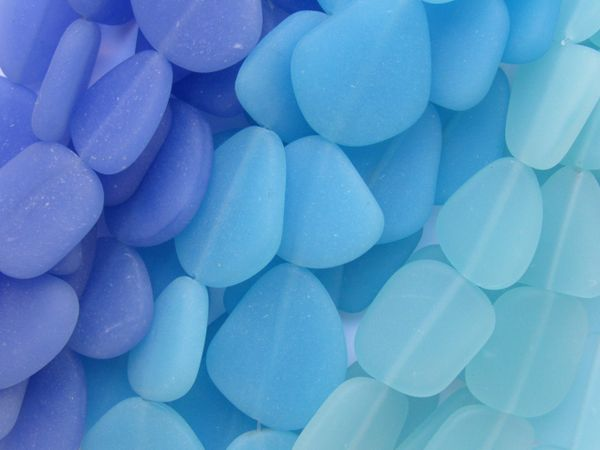 Opaque Cultured Sea Glass BEADS Assorted 22-24mm 3 Hanks assorted Opaque Blue colors bulk frosted glass beads for jewelry