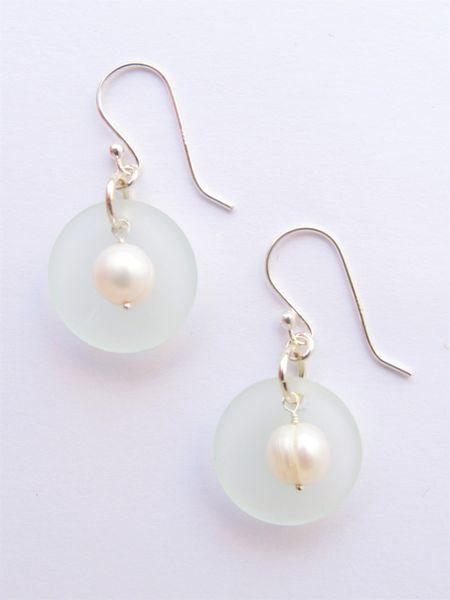 "Sea glass Pearl EARRINGS 1 3/8"" Dangle Handmade Sterling Silver White Pearls Light Aqua sea glass pendants earwires sea glass jewelry"
