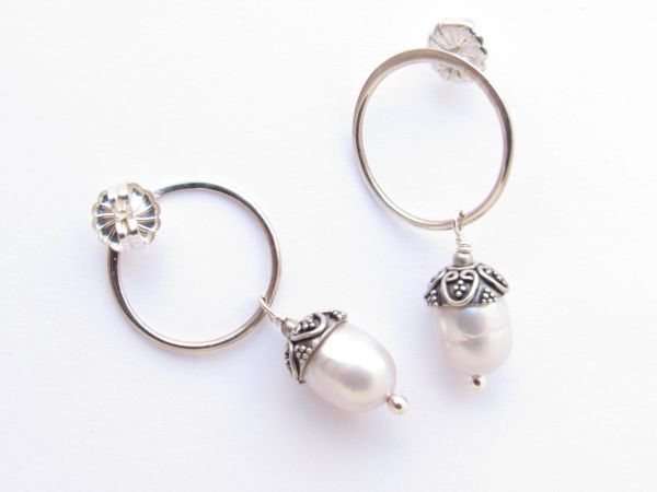 Sea glass EARRINGS Ring with Dangle Handmade Sterling Silver White Pearl earwires elegant jewelry