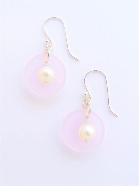 "Sea glass Pearl EARRINGS 1 3/8"" Blossom Pink Handmade Sterling Silver White Pearls Light Aqua earwires sea glass jewelry"