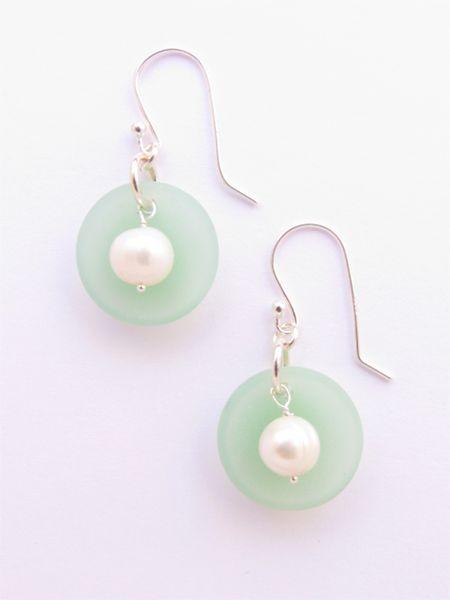 "Sea glass Pearl EARRINGS 1 3/8"" Opaque Seafoam Green Handmade Sterling Silver White Pearls Light Aqua earwires sea glass jewelry"