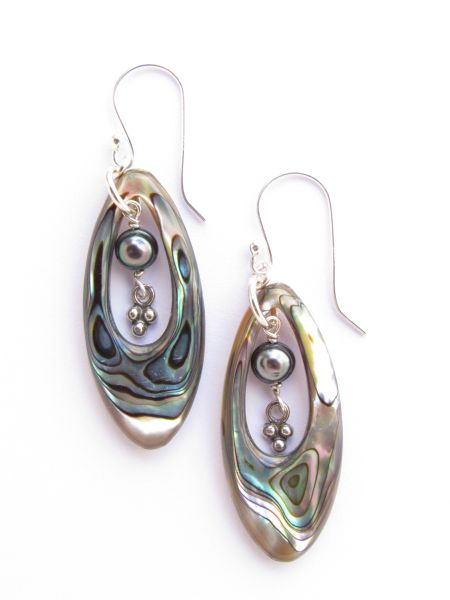 """Abalone EARRINGS 2"""" Dangle Iridescent Pearl Handmade Sterling Silver jewelry with Earwires"""