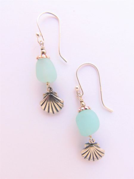 "Seafoam EARRINGS 1 5/8"" Seaglass Nugget Handmade Sterling Silver shell beach jewelry with Earwires"