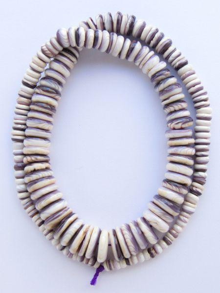 "Wampum BEADS 10-4mm Natural Purple Shell Graduated 16"" Strand Genuine Quahog USA Hard to Find rare beads for making jewelry"