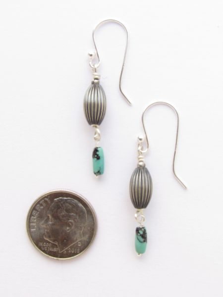 """Silver & Turquoise EARRINGS 1 5/8"""" Handmade with Natural Turquoise gemstone beads and Sterling Silver with Earwires"""