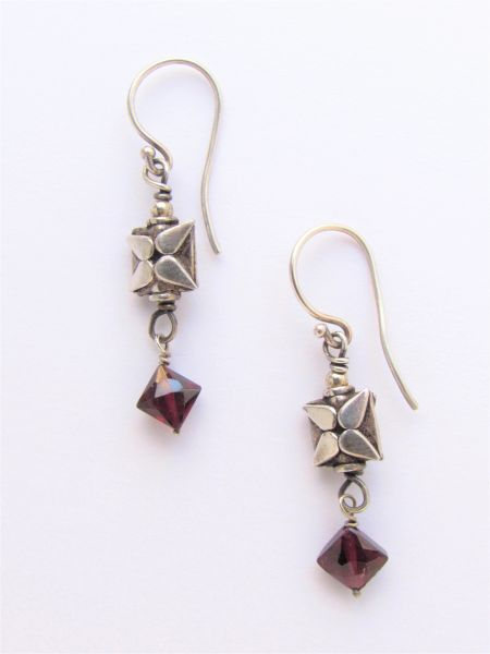 """Silver & Garnet EARRINGS 1 1/2"""" Handmade with Natural gemstone beads and Unique Sterling Silver beads with Earwires"""