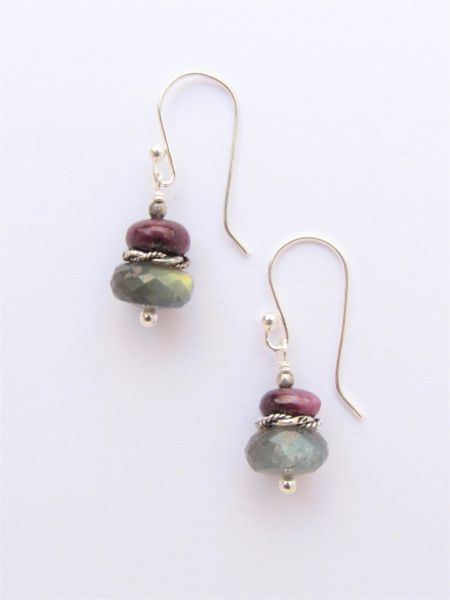 "Ruby & Labradorite EARRINGS 1 1/8"" Handmade with Sterling Silver Earwires simple classy everyday jewelry"