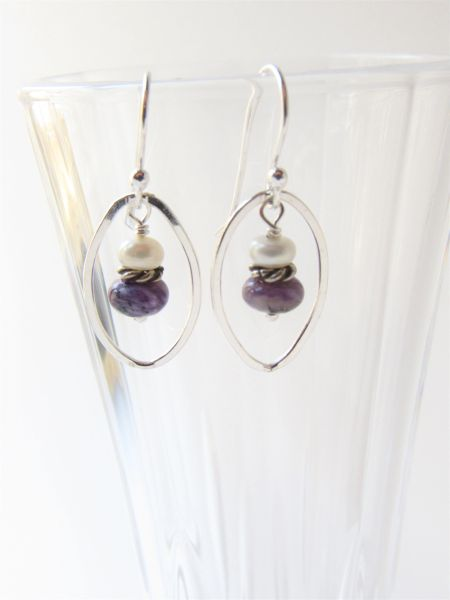"""Charoite EARRINGS 1 1/4"""" Handmade Sterling Silver with Earwires floating oval purple gemstone white pearl gift jewelry"""