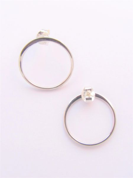 Minimalist EARRINGS 18mm Ring Sterling Silver with post and earnut closure