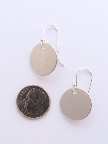 Silver EARRINGS Round Tag Disk Sterling with earwires minimalist style jewelry enhance yourself