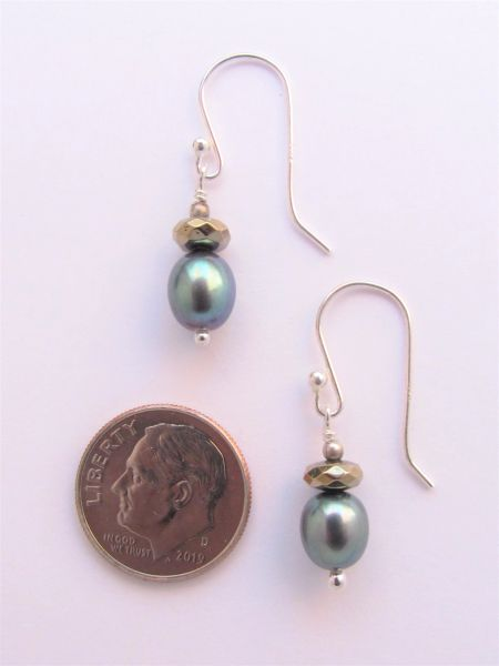 """Pearl EARRINGS 1 1/4"""" Handmade Pyrite with Sterling Silver Earwires simple classy everyday jewelry"""