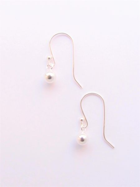 Minimalist Sterling Silver EARRINGS with earwires small sphere silver ball jewelry