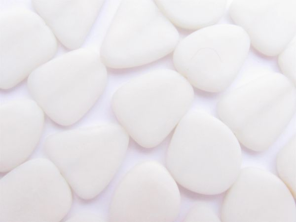 Cultured Sea Glass BEADS 22-24mm flat Freeform Opaque White frosted glass for making seaglass jewelry