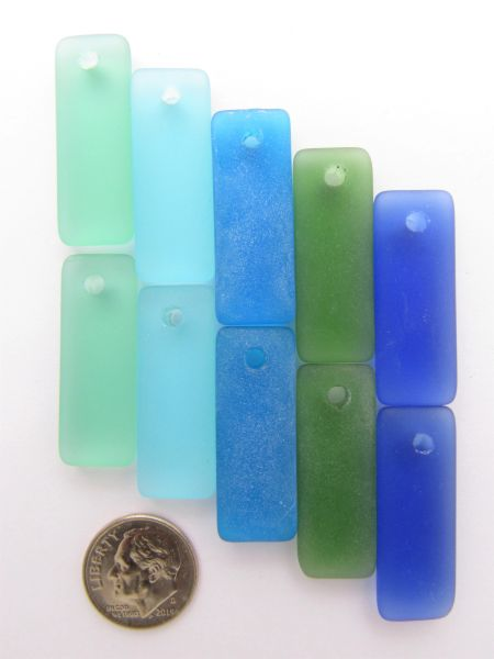 Sea Glass PENDANTS 32x12mm mixed colors Blue Green puffed rectangle